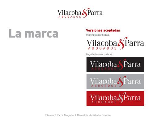 Diseño gráfico. Vilacoba y Parra manual de estilo marcas aceptadas
